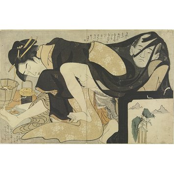 Woodblock print - Erotic scene of man and woman with food tray