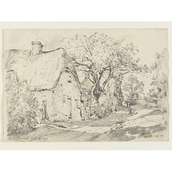 Drawing - Cottages and trees in the New Forest