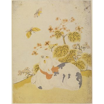 Woodblock print - A Cat Watching Butterflies
