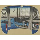 Night View at Eitai Bridge (Woodblock print)