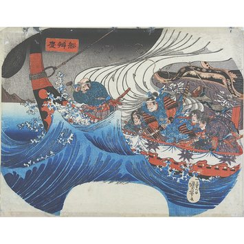 Woodblock print - Benkei on the Boat