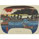 Viewing Lotuses at the Shinobazu Pond at Ueno (Woodblock print)