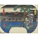 Evening Bell at Ueno (Woodblock print)
