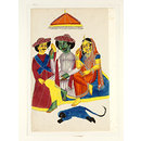 Hanuman before Rama, Sita and Lakshmana (Painting)