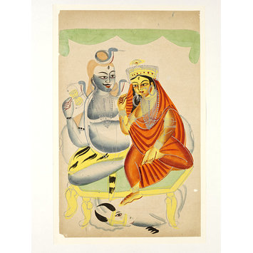 Painting - Shiva, Parvati and Nandi