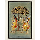 Lava and Kusha carrying Hanuman (Painting)