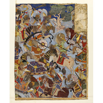 Painting - Hamza's army battles Girang's men and kills a giant
