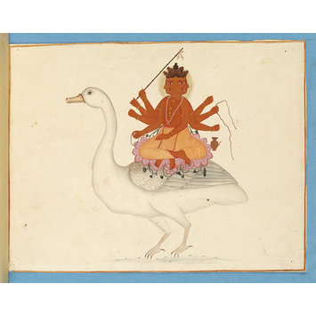 Painting - Brahma riding on his goose