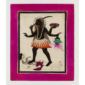 Drawing - Kali dancing on Shiva