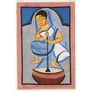 A woman churning milk (Kalighat painting)