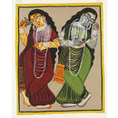 Lakshmi and Saraswati (Kalighat painting)