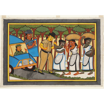 Kalighat painting - The Policeman's bribe