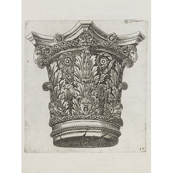 Engraving - Capital with rams' heads and masks