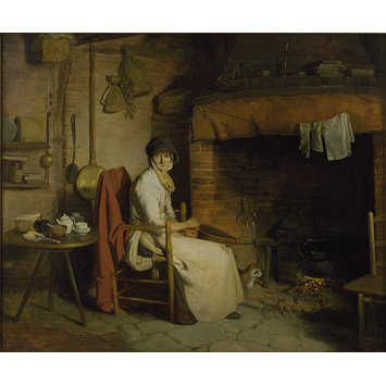 Oil painting - A Cottage Interior: An Old Woman Preparing Tea