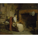A Cottage Interior: An Old Woman Preparing Tea (Oil painting)