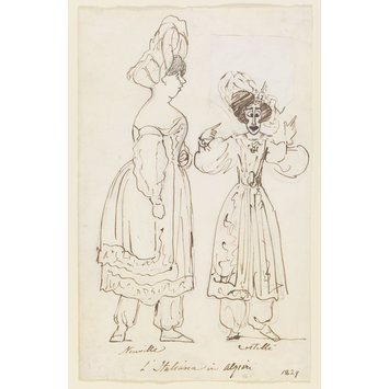 Caricature portrait sketch - Madame de Neuville and Madame Castelli in L'Italiana in Ilgieri
