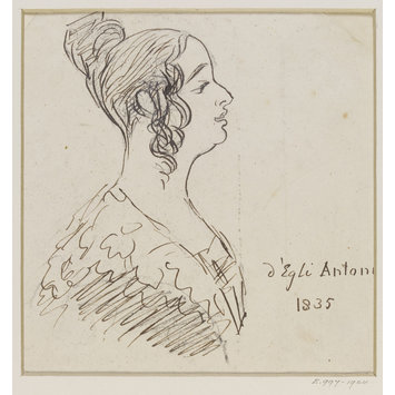 Caricature portrait sketch - drawing of Madame d'Egli Antoni