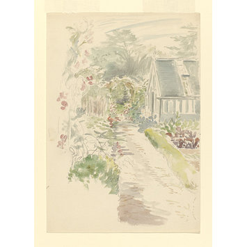 drawing - Sketch of the garden at Gwaynynog
