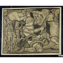 St. George slaying the Dragon with Princess Sabra tied to a tree (Design for stained glass)