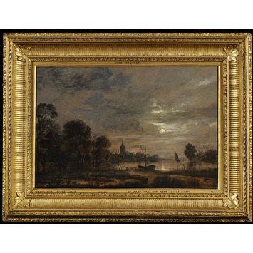 Oil painting - Moonlight and River Scene