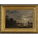 Moonlight and River Scene (Oil painting)