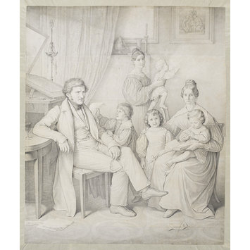 Drawing - Portrait of Samuel Amsler and Family