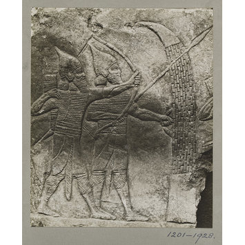photograph - Assyrian slab of archers and spearmen, from the Palace of Shur-Bari-Pal (BC. 668-626), at Nineveh. ca. 660 B.C.