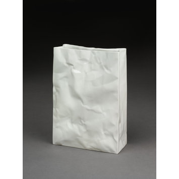 Vase in form of a paper bag