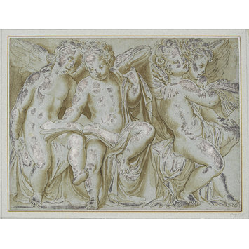 Drawing - Four seated putti