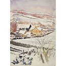 Snow scene showing a farm with outbuildings, and hillside beyond (near Sawrey) (Drawing)