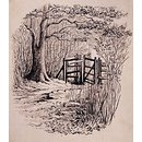 A gateway leading from a wood into a field (drawing)