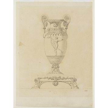 Design for a silver vase on a stand