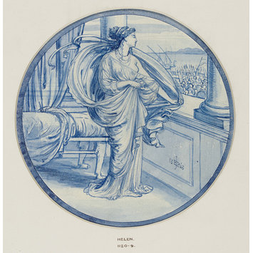 Design (visual work) - Design for a decorative tile representing Helen of Troy