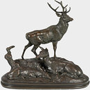 Stag, Doe and Fawn / Stag Family (2nd version) (Statuette)