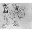 Mice dancing and two studies of dogs (drawing)