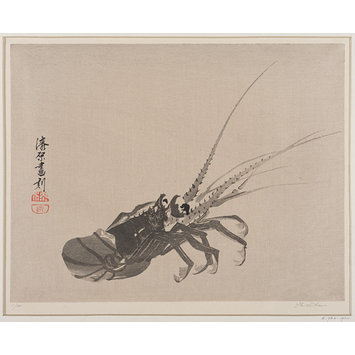 Colour woodcut - Crayfish
