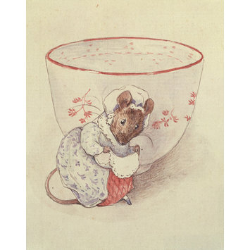 drawing - Lady mouse curtseying beside a tea-cup