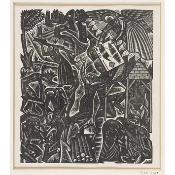 Woodcut - The Chester Play of the Deluge