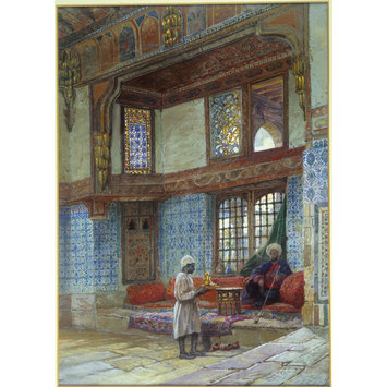Watercolour - Recess in the reception room in the house of the Mufti Sheikh el Mahadi, Cairo