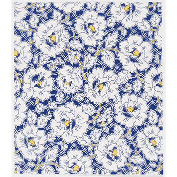 Drawing - Design of a large floral pattern and stems on a blue ground.