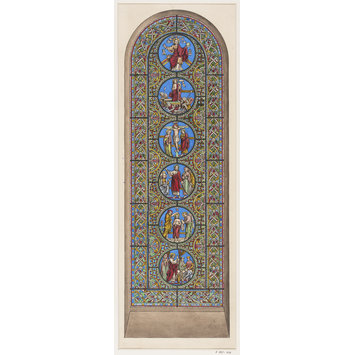 Record drawing of stained glass - Stained glass window in the Chapelle Episcopale de Tournai