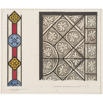 Record drawing of stained glass - Fragment of a 14th century glass border in the Sacristy of the Church of St Gereon