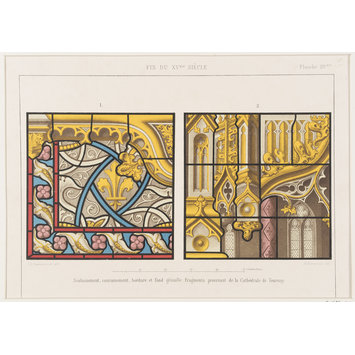 Record drawing of stained glass - A fragment of late 15th century stained glass in Tournai Cathedral