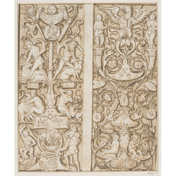 Design - Designs (2 on 1 sheet) for panels of grotesque ornament, the left one decorated with scenes from the legend of Hercules