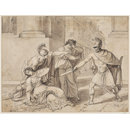 Horatius stabbing his sister because of her grief at the death of Curiatii (Drawing)
