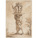 A faun in a landscape bearing a pair of putti on a tray on his head (Drawing)