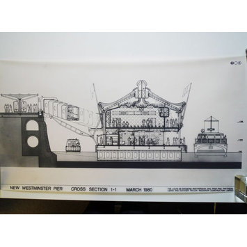 architectural drawing - Design, unexecuted, for Westminster Pier, Victoria Embankment, London, by Eva Jiřičná, March 1980: cross section 1-1