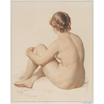 Print - Life study of a seated nude female figure