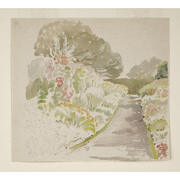 drawing - Sketch of a path and flower beds in the garden at Gwaynynog