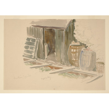 drawing - Sketch of a shed, cold frames and water butts in the garden at Gwaynynog
